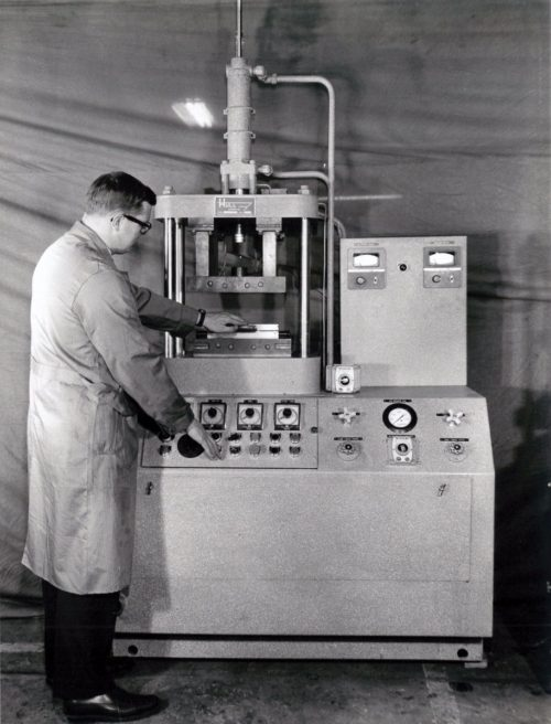 History - Jim Chant with a test stand