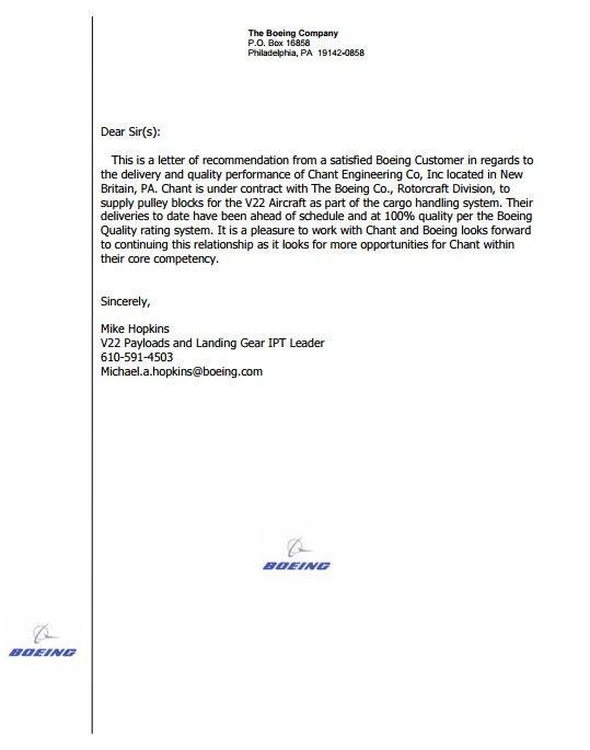 Boeing Testimonial Letter