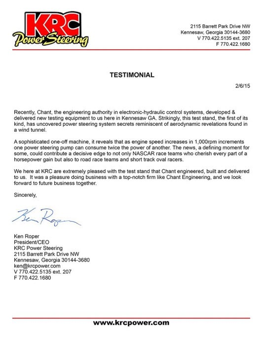KRC Power Steering Testimonial Letter