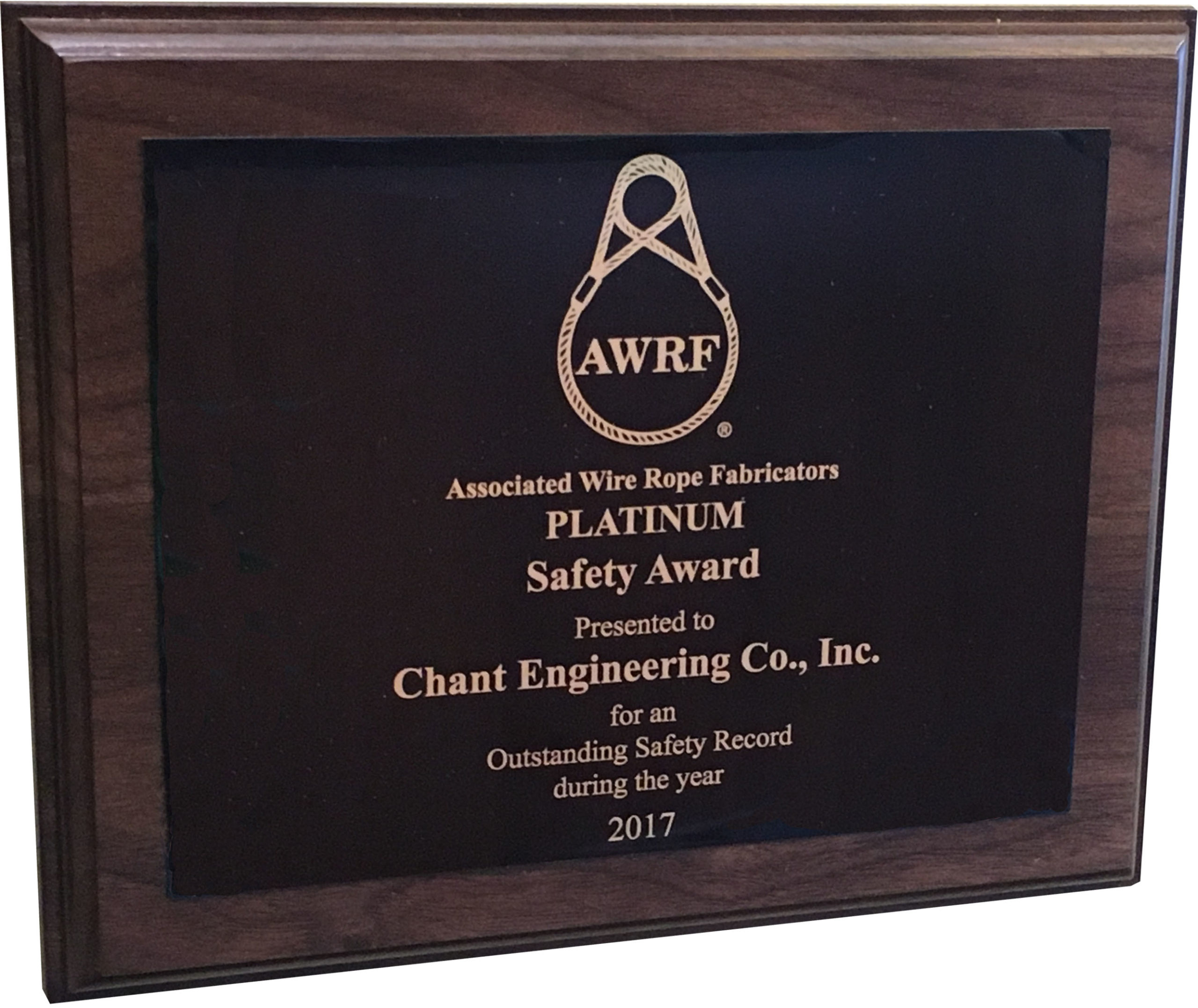 Chant has become a twelve time recipient for AWRF's Platinum Safety Award