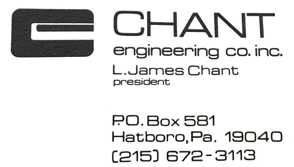 Original Chant Corporate Logo-Designed by Phil Chant in 1978
